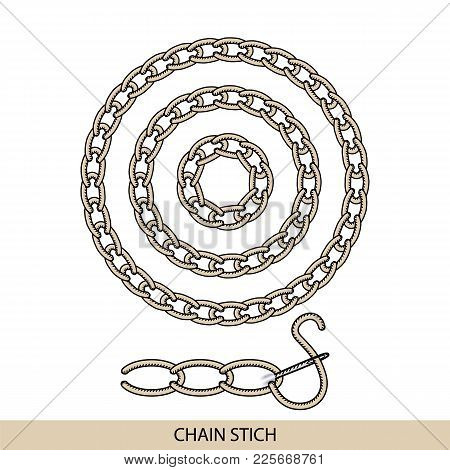 Stitches Chain Type Vector. Collection Of Thread Hand Embroidery And Sewing Stitches. Vector Illsutr