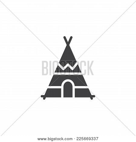 Indian Tepee Icon Vector, Filled Flat Sign, Solid Pictogram Isolated On White. Wigwam Symbol, Logo I