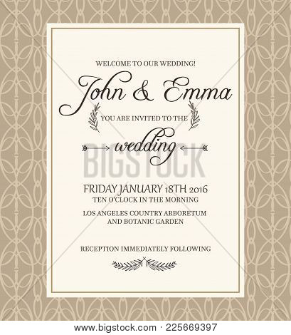 Beige Colored Decorative Frame Invitation Postcard On Filigree Background With Text About Important
