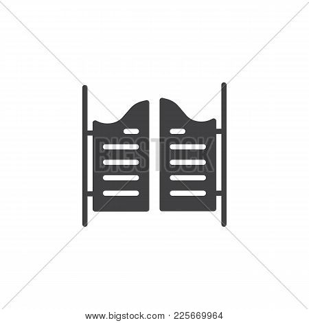 Saloon Door Icon Vector, Filled Flat Sign, Solid Pictogram Isolated On White. Symbol, Logo Illustrat