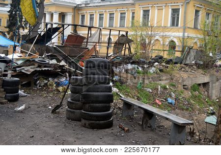 Charles Darwin Street during LGBT activists pro-Poroshenko riot. Vandalism in downtown. Gays for war against Russia and gay rights. So-called Revolution of Dignity. April 19, 2014 Kiev, Ukraine