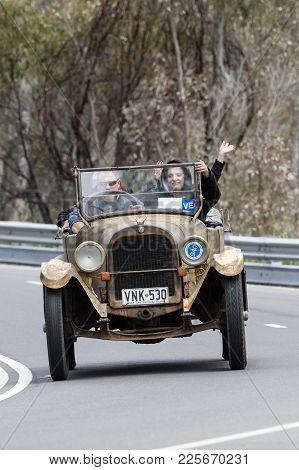 Adelaide, Australia - September 25, 2016: Vintage 1923 Dodge 4 Tourer Driving On Country Roads Near