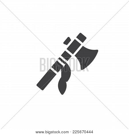 Indian Battle Ax With Feathers Icon Vector, Filled Flat Sign, Solid Pictogram Isolated On White. Nat