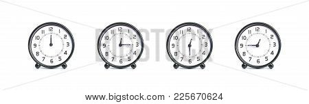 Closeup Group Of Beautiful Black And White Clock For Decoration Show The Time In 12 , 12:15 , 12:30
