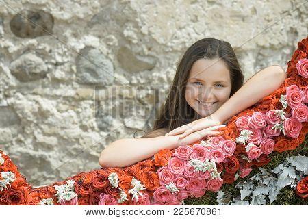 Florist Child With Flower Arrangement, Decor, Design. Florist Girl In Florist Shop.
