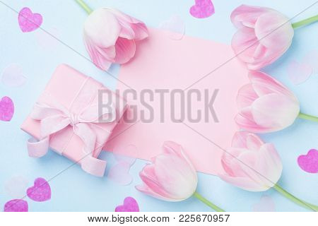 Woman Day Background. Gift Or Present Box, Pink Paper List, Hearts And Tulip Flowers Top View. Beaut