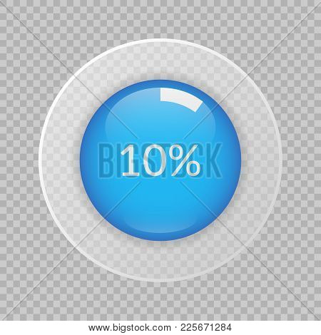 10 Percent Pie Chart On Transparent Background. Percentage Vector Infographics. Circle Diagram Isola