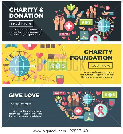 Charity And Donation Foundation To Give Love Promo Internet Posters Templates With Human Hands, Glob