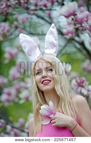Spring, Easter Holidays Celebration, Happy Woman Or Pretty Girl In Bunny Ears On Blond, Long Hair At