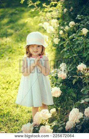 Girl in hat with praying hands in summer garden. Future and flourishing. Innocence, purity and youth concept. Germination and growth. Child standing at blossoming rose flowers on green grass. poster