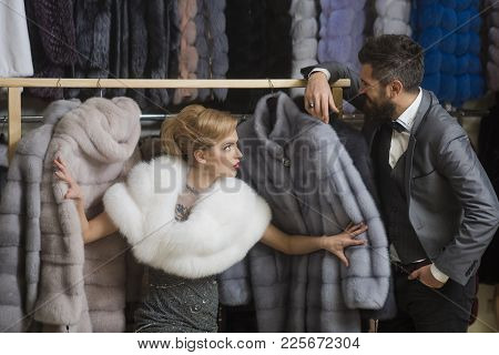 Fashion And Beauty, Winter, Fur. Fashion, Shopping, Love, Relationship, Couple In Love.