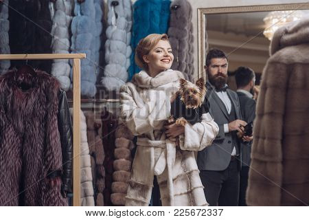 Woman In Fur Coat With Man, Shopping, Seller And Customer. Fashion And Beauty, Winter. Couple In Lov