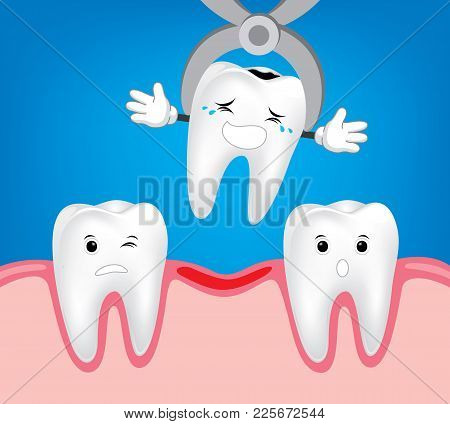Teeth Treatment And Care.  Illustrations For Children Dentistry And Kids About Toothache, Care And T
