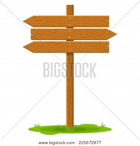 Wooden Signboard Arrow Signpost Isolated On White Background. Sign And Symbol To Communicate A Messa