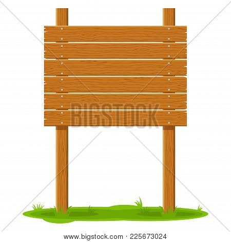 Wooden Signboard In Grass Isolated On White Background. Signs Board And Symbols To Communicate A Mes
