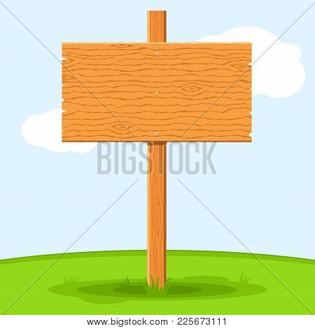 Wooden Signboard In Grass Isolated On Grass Sky Background. Signs Board And Symbols To Communicate A