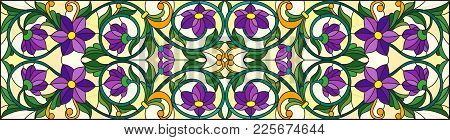Illustration In Stained Glass Style With Abstract  Swirls,purple Flowers And Leaves  On A Yellow  Ba
