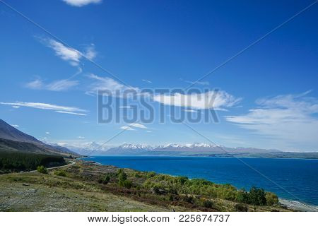 Lakeside With Mount Cook Backdrop In Sunny Day