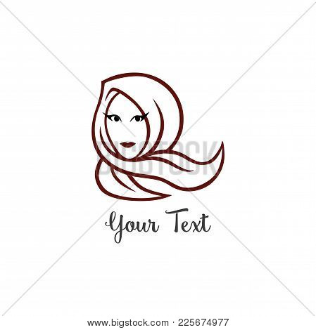 Hijab Logo Young Lovely Muslim Girl Line Art Flat Design Logo Vector Template
