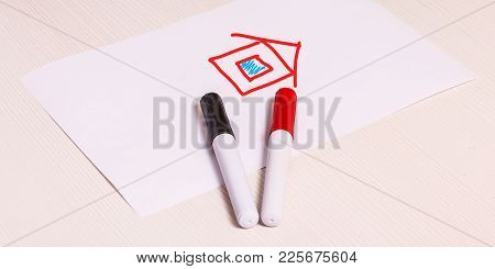 New House Plans Concept As A Drawing Of A House On The Sheet Of Paper. New Creative Solution Demand