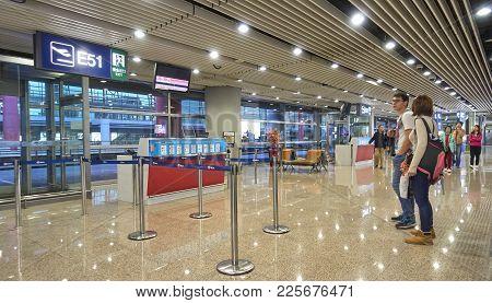 Beijing, China - October 22, 2017: Beijing Airport On 22 October 2017 In Beijing, China. On The Occa