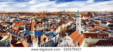 Munich Historical Center Panoramic Aerial Cityscape View With Old Town Hall And Heiliggeistkirche. M