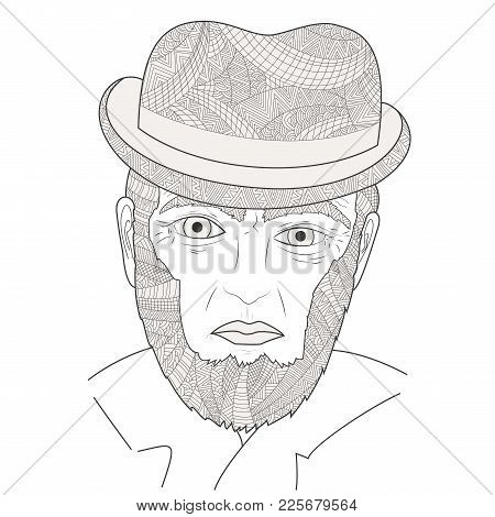 The Face Of An Elderly Signora Zen Tangle Vector Illustration. Elderly People In The Hat Zentangle.