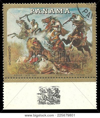 Panama - Circa 1968: Stamp Printed By Panama, Color Edition On Art, Shows Painting Hunting On Horseb