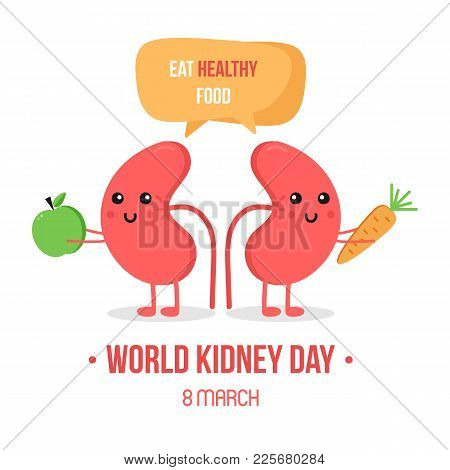 Vector Illustration For World Kidney Day With Couple Of Kidneys Characters, Giving Advice To Eat Hea