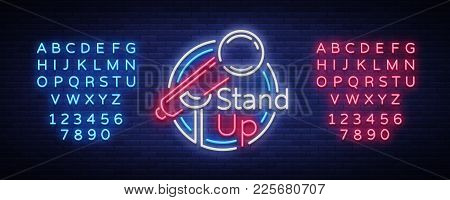 Stand Up Comedy Show Is A Neon Sign. Neon Logo, Bright Luminous Banner, Neon Poster, Bright Night-ti