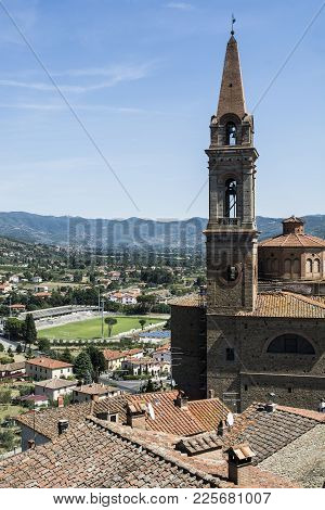 View To Church San Giuliano And Stadium In The Medieval Italian City Of Castiglion Fiorentino.  Cast