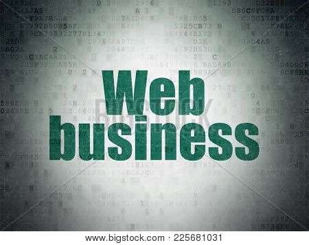 Web Design Concept: Painted Green Word Web Business On Digital Data Paper Background