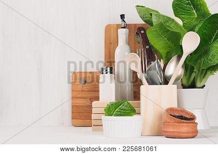 Kitchen Modern Decor - Beige Wooden Utensils, Brown Cutting Boards, Green Plant On Soft Light White
