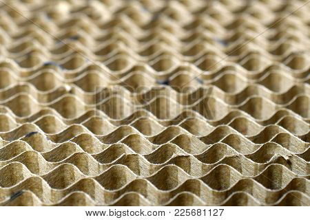 Close Up Of Corrugated Board As Abstract Background. Focus On Foreground.