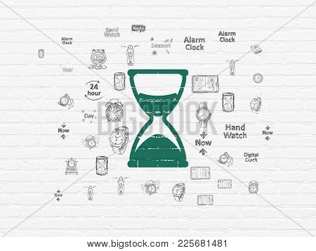 Time Concept: Painted Green Hourglass Icon On White Brick Wall Background With  Hand Drawing Time Ic