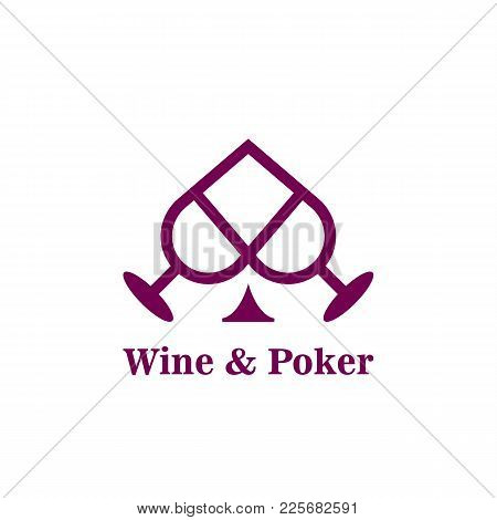 Peak Suit And Wine Glasses Abstract Icon. Idea Poker Logo Template For The Casino Business Card, Bra