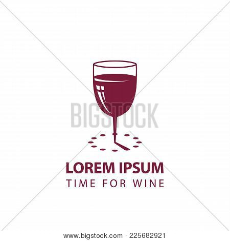Wine Glass And Sundial Minimalistic Icon. Time For Wine Logo Template For The Business Card, Brandin