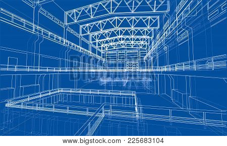 Warehouse Sketch. Vector Rendering Of 3d. Wire-frame Style. The Layers Of Visible And Invisible Line