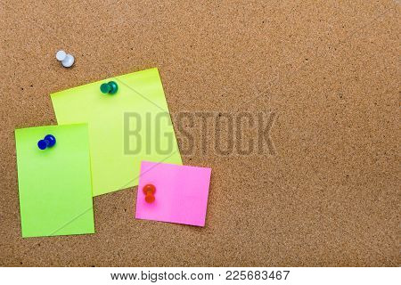 Pin Board Texture For Background,  Corolful Pins And Sticky Notes