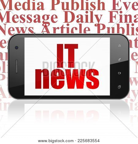 News Concept: Smartphone With  Red Text It News On Display,  Tag Cloud Background, 3d Rendering