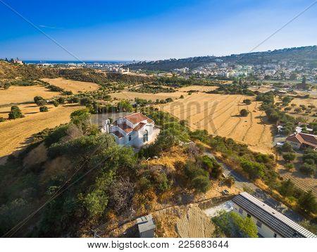 Aerial Bird Eye View Of Saint George Chapel (parekklisi Agiou Georgiou) In Germasogia Municipality,