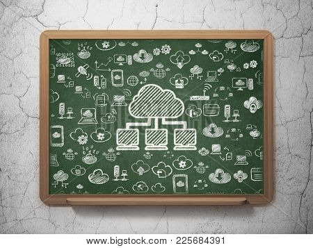 Cloud Networking Concept: Chalk White Cloud Network Icon On School Board Background With  Hand Drawn