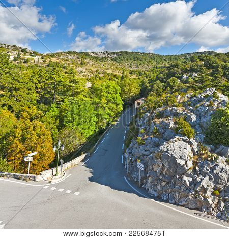 Crossroads Of Tourist Roads Near The Medieval City Of Mons In France In The Provence-alpes-cote D Az
