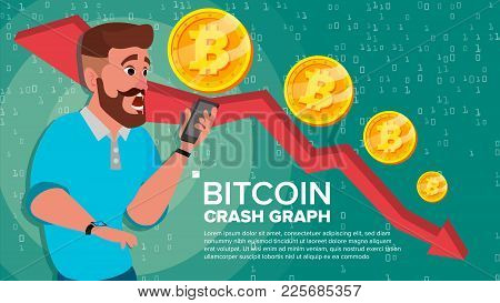 Bitcoin Crash Graph Vector. Surprised Investor. Negative Growth Exchange Trading. Collapse Of Crypto