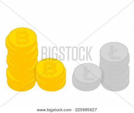 Design Concept Of Cryptocurrency Technology, Bitcoin And Litecoin Exchange, Mobile Banking.
