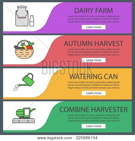 Agriculture Web Banner Templates Set. Dairy Farm, Autumn Harvest, Watering Can, Combine Harvester. W