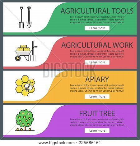 Agriculture Web Banner Templates Set. Pitchfork And Shovel, Wheelbarrow With Hays, Apiary, Fruit Tre
