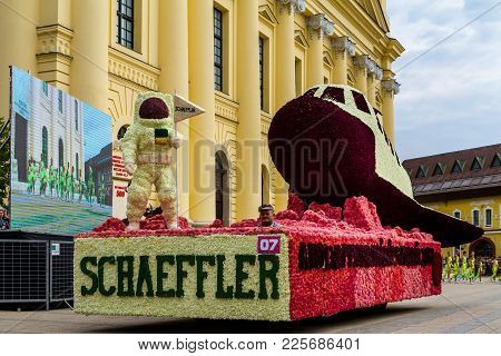 Debrecen, Hungary - August 20, 2017: Giant Flower Composition In The Form Of Space Shuttle And An As