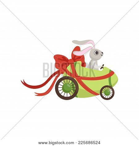 Cute Little Bunny Driving Easter Green Car Egg Decorated With Red Bow, Funny Rabbit Character, Happy