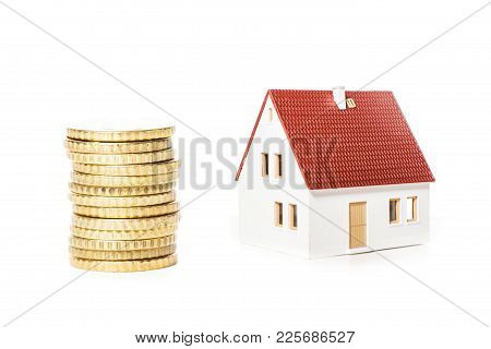 House On A Banknotes. Concept For Property Ladder, Mortgage And Real Estate Investment